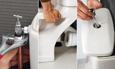 Plombier répare un WC